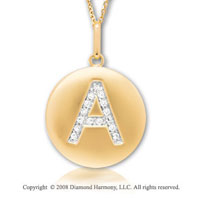 14k Yellow Gold Diamond Initial  A Disk Pendant