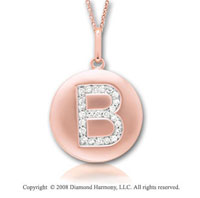 14k Rose Gold Diamond Initial B Disk Pendant