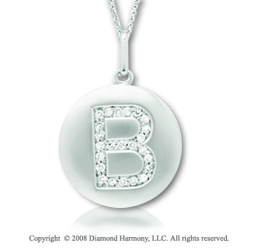 14k White Gold Diamond Initial B Disk Pendant