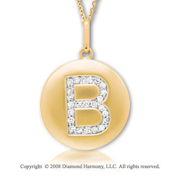 14k Yellow Gold Diamond Initial B Disk Pendant