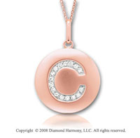 14k Rose Gold Diamond Initial C Disk Pendant