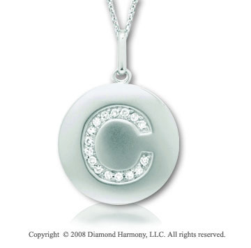 14k White Gold Diamond Initial C Disk Pendant