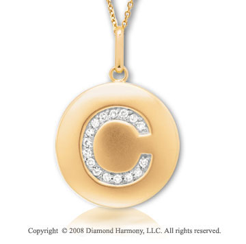 14k Yellow Gold Diamond Initial C Disk Pendant