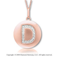 14k Rose Gold Diamond Initial D Disk Pendant