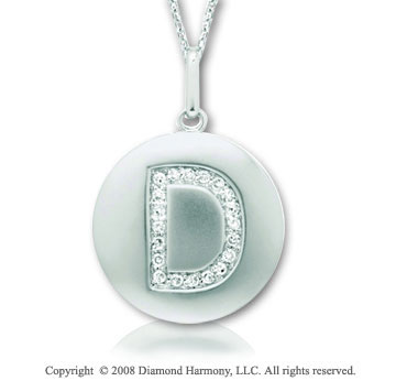 14k White Gold Diamond Initial D Disk Pendant