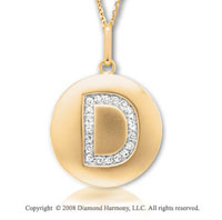 14k Yellow Gold Diamond Initial D Disk Pendant