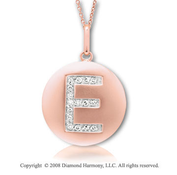 14k Rose Gold Diamond Initial E Disk Pendant