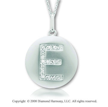 14k White Gold Diamond Initial E Disk Pendant