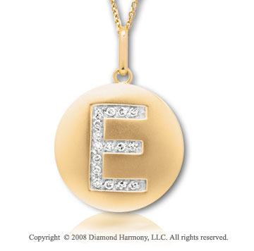 14k Yellow Gold Diamond Initial E Disk Pendant