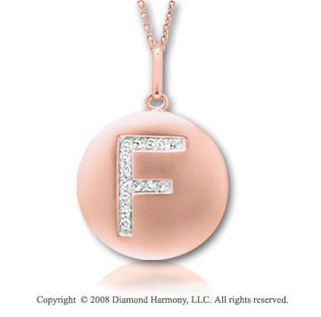 14k Rose Gold Diamond Initial F Disk Pendant