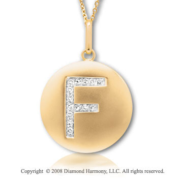 14k Yellow Gold Diamond Initial F Disk Pendant