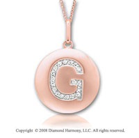 14k Rose Gold Diamond Initial G Disk Pendant