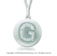 14k White Gold Diamond Initial G Disk Pendant