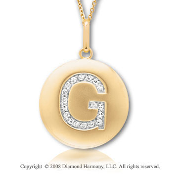 14k Yellow Gold Diamond Initial G Disk Pendant