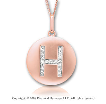 14k Rose Gold Diamond Initial H Disk Pendant