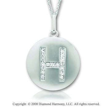 14k White Gold Diamond Initial H Disk Pendant
