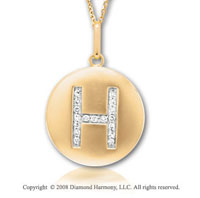 14k Yellow Gold Diamond Initial H Disk Pendant