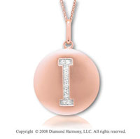 14k Rose Gold Diamond Initial I Disk Pendant