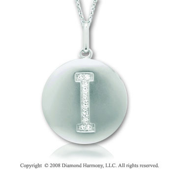 14k White Gold Diamond Initial I Disk Pendant