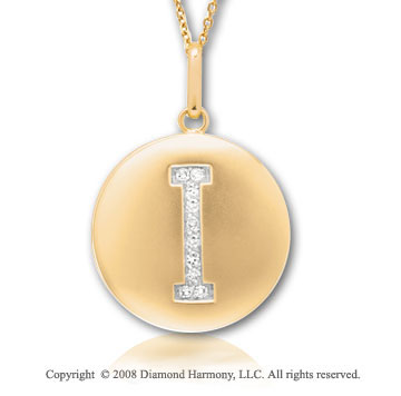 14k Yellow Gold Diamond Initial I Disk Pendant