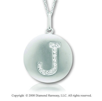 14k White Gold Diamond Initial J Disk Pendant