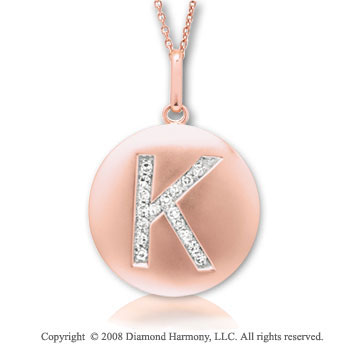 14k Rose Gold Diamond Initial K Disk Pendant