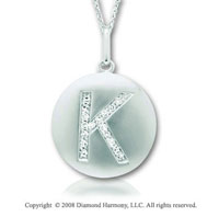 14k White Gold Diamond Initial K Disk Pendant