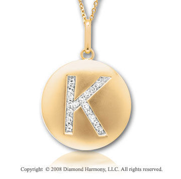 14k Yellow Gold Diamond Initial K Disk Pendant