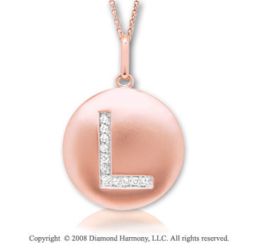 14k Rose Gold Diamond Initial L Disk Pendant