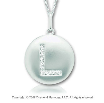 14k White Gold Diamond Initial L Disk Pendant