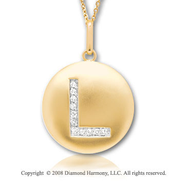 14k Yellow Gold Diamond Initial L Disk Pendant