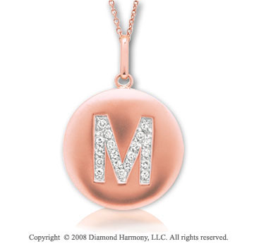 14k Rose Gold Diamond Initial M Disk Pendant
