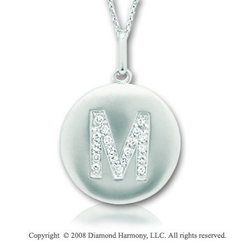 14k White Gold Diamond Initial M Disk Pendant