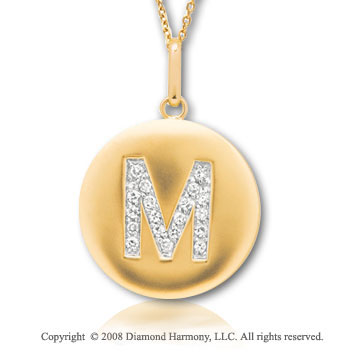 14k Yellow Gold Diamond Initial M Disk Pendant