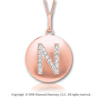 14k Rose Gold Diamond Initial N Disk Pendant