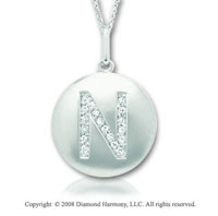 14k White Gold Diamond Initial N Disk Pendant