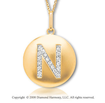 14k Yellow Gold Diamond Initial N Disk Pendant