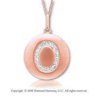 14k Rose Gold Diamond Initial O Disk Pendant