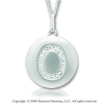 14k White Gold Diamond Initial O Disk Pendant