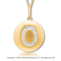 14k Yellow Gold Diamond Initial O Disk Pendant