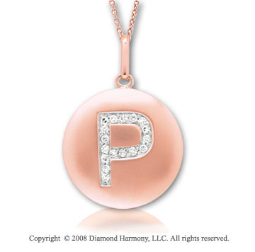 14k Rose Gold Diamond Initial P Disk Pendant