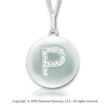 14k White Gold Diamond Initial P Disk Pendant
