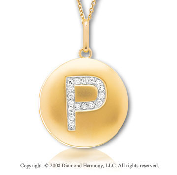 14k Yellow Gold Diamond Initial P Disk Pendant