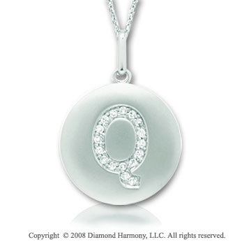 14k White Gold Diamond Initial Q Disk Pendant