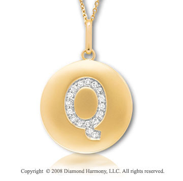14k Yellow Gold Diamond Initial Q Disk Pendant