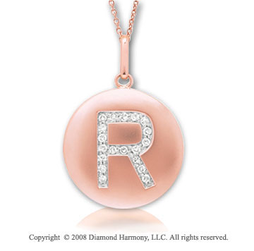 14k Rose Gold Diamond Initial R Disk Pendant