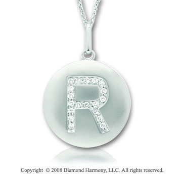 14k White Gold Diamond Initial R Disk Pendant