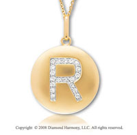 14k Yellow Gold Diamond Initial R Disk Pendant