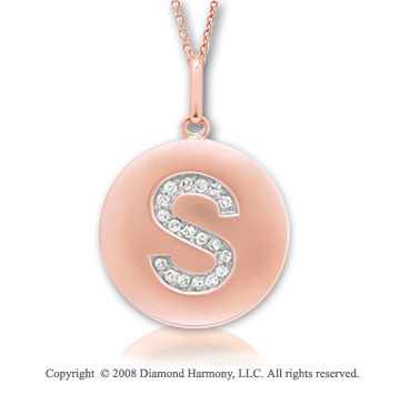 14k Rose Gold Diamond Initial S Disk Pendant