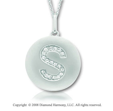 14k White Gold Diamond Initial S Disk Pendant